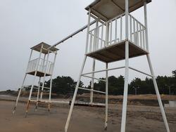 Lifeguard stand in jeju Island Beach. White lifeguard stand. Lifeguard tower