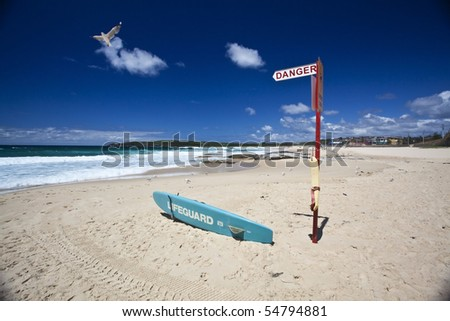 Lifeguard Surfboard on Australian beach
