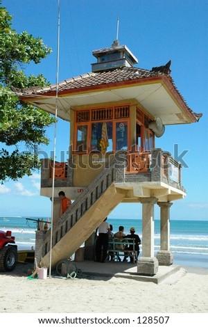 Lifeguard tower at Kuta Beach, Bali