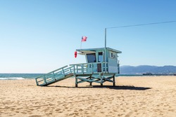 lifeguard tower at the beach in Santa Monica, California