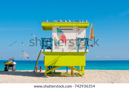 Lifeguard Tower in South Beach, Miami Beach, Florida, USA