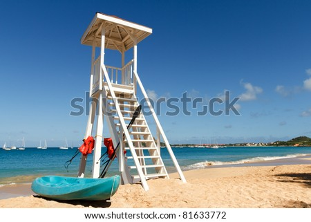 Lifeguard tower on a beach in St Lucia