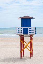 Lifeguard tower on the beach, Matalascañas, Spain