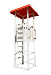 Lifeguard Tower with red roof isolated on white with Clipping Path
