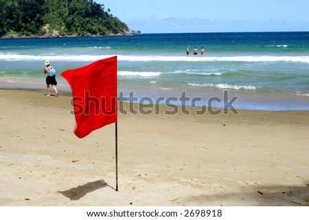 Lifeguards' danger flag- Maracas beach Trinidad WI