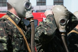 lifeguards in gas masks in training
