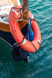 Lifesaver on a boat in Malta ready for emergency