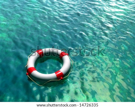 Lifesaver on clear blue and green water surface. Digital illustration.