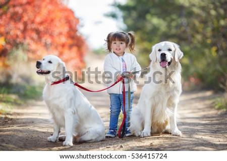 Lifestyle autumn photo, little girl and golden retriever dog walking outdoors. Little girl playing with golden retriever in autumn park