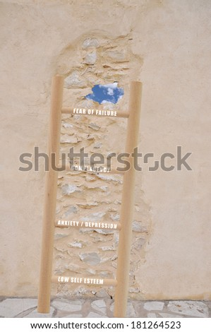 Lifestyle Change Ladder Wall Sky (low self esteem, anxiety, depression, complacency, fear of failure)