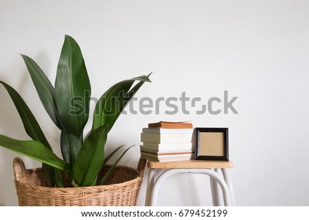 lifestyle home decor. houseplant with a books and frame photo on a chair in room