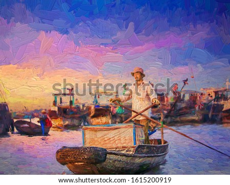 Lifestyle of vietnamese merchants rowing boat to sell bread at the floating market on the Delta Mekong in beautiful morning sunrise at Can Tho, Vietnam.- oil painting.