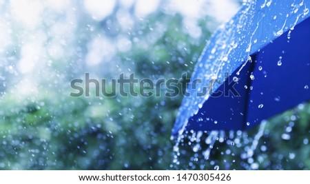 Photo of  Lifestyle scene of rainy weather. Blue umbrella under rainfall. Banner format.