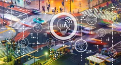 LiFi theme with busy city traffic intersection