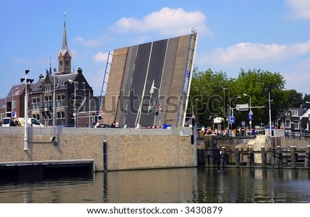 lift bridge over the canal in Amsterdam, Netherlands