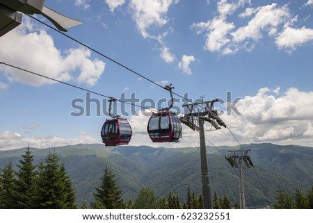 lift cabin in the mountains, summer time #623232551