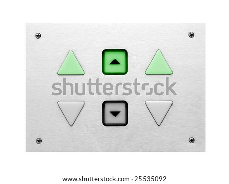 lift control panel with green control light - stock photo
