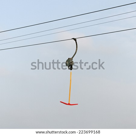 Lift for skiing on steel cable.