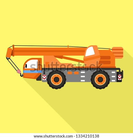 Lift heavy truck icon. Flat illustration of lift heavy truck icon for web design