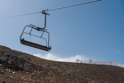 Lift lines in the ski resort of sierra nevada in granada. Ski lifts for winter sports in the mountains. horizontal photography.