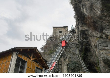 Lift of Forte di Bard (Fort Bard) in Aosta Valley, Bard, Valle d'Aosta, Italy
