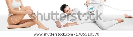 Lifting body. Beautiful woman receives LPG massage to remove cellulite from her body. Anti-cellulite massage with LPG massager. Beautifully slender body, removal of skin stretch marks and cellulite