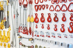 Lifting equipment and chains in exhibition store