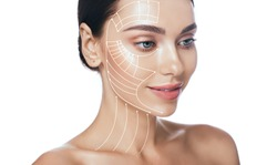 Lifting lines, advertising of face contour correction, skin and neck lifting. Facial rejuvenation concept, cosmetology