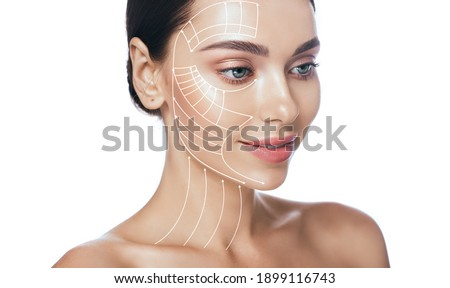 Lifting lines, advertising of face contour correction, skin and neck lifting. Facial rejuvenation concept, cosmetology Stock foto ©