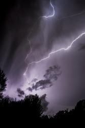 Lighning bolt over night sky