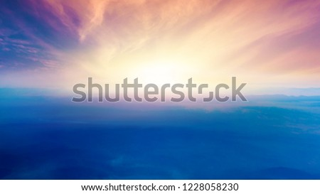 light about the sky . Paradise heaven .  Dramatic nature background . beautiful cloud .   Way to heaven . Journey of the Soul .  background sky at sunset and dawn .