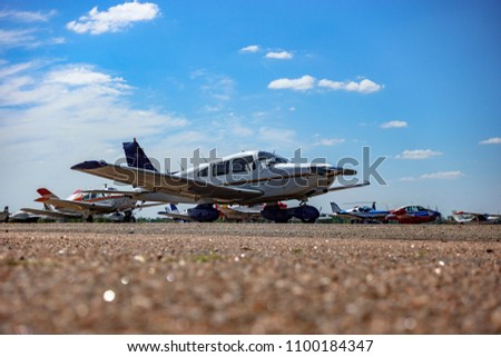 Light aircraft at the airport