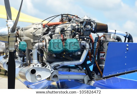 Light aircraft engine used for small private airplanes