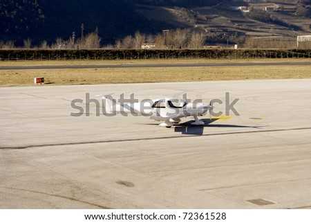 light aircraft standing in airport