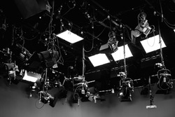 Light and cameras for studio. black and white tone photo.