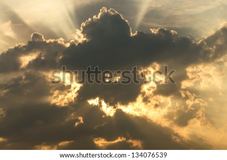 light and cloud when sunset on sky, sun rays through clouds