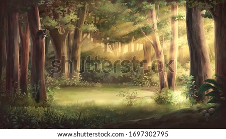 Light and forest - Afternoon , Anime background , Illustration.