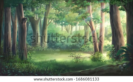 Light and forest - Day , Anime background , Illustration. Foto stock ©