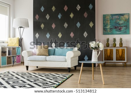 Light  and modern living room in pastel colours #513134812