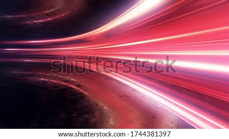 Light and stripes moving fast over dark background and are reflected in the road surface. Technology and science illustration. 3d rendering Stockfoto ©