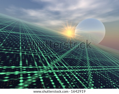 Light Array over Horizon - stock photo