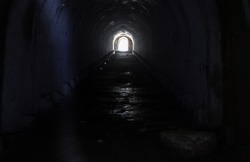 Light at the end of an underground tunnel at Fort Pospelova in Vladivostok.