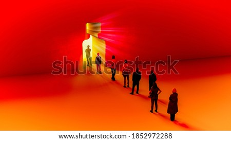 Light at the end of the tunnel, coronavirus, pandemic, the end of the lockdown, the run-up to the vaccine. Research for the cure at Covid-19. Hope. Test and analysis. 3d render. Queue of people