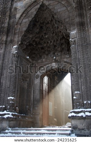 Light beam from the turkish mosque entrance - stock photo