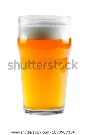 Light beer in a glass - Nonic. Glass isolated on white with clipping path. Stock photo ©