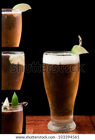 light beer isolated on a black background with a lime and different lime placing ideas