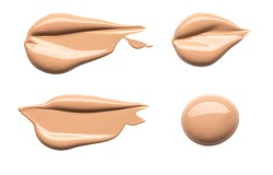 Light beige makeup smears of creamy foundation isolated on white background.