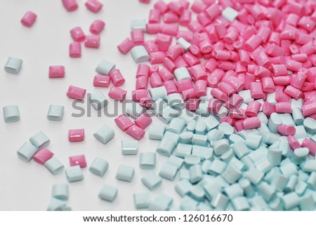 light blue an pink polymer resin for injection moulding process