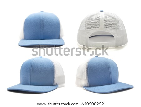 Light blue and white cap isolated on white background. Multiple angles included.