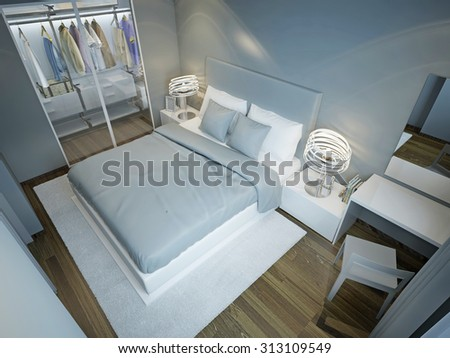 Light blue bedroom with wardrobe. Dressed bed with blue and white pillows on snowy white carpet in contemporary bedroom. 3D render